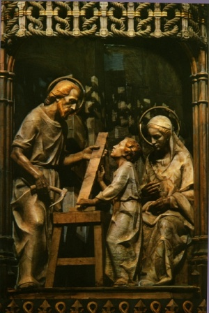 Teil des Altarbildes der Wallfahrtskirche von Torreciudad (Spanien, Pyrenäen)