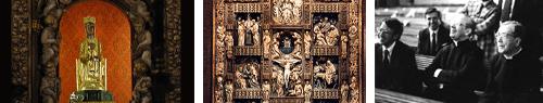 Notre Dame de Torreciudad, le retable du santuaire, et saint Josémaria davant le retable: « C'est tout un retable. C'est bien ! Vous êtes fous […] nous avons fait cela, et nous sommes bien contents d'être des fous… C'est fort bien » !