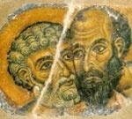 Fresco de S. Pedro e S. Paulo. Mosteiro de Monte Athos.