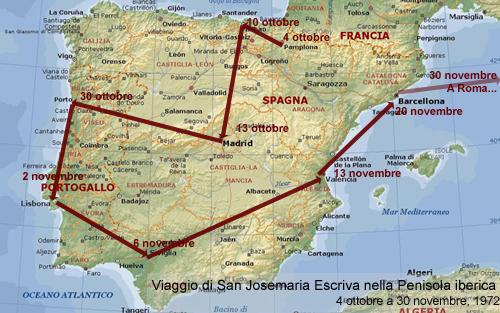 São Josemaria fez uma viagem de cateques pela Península Ibérica de 4 de outubro a 30 de novembro de 1972. Esteve em  Pamplona, Bilbau, Madrid, Porto, Lisboa, Sevilha, Valência e Barcelona
