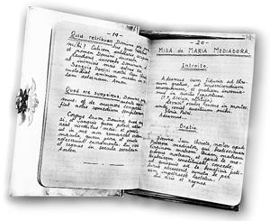 Bilježnica u kojoj se nalaze tekstovi Mise, koristila se tijekom vjerskog progona