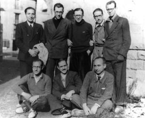 Pedro Casciaro, Francisco Botella, Miguel Fisac, Josemaría Escrivá,  José María Albareda, Juan Jiménez Vargas, Tomás Alvira, Manuel Sáinz de los Terreros