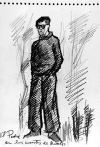 Portret św. Josemaríi narysowany w czasie ucieczki przez Pireneje
