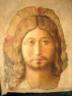 """Fra Angelico, """"Volto di Cristo"""", 1446-47, fragmento de fresco"""