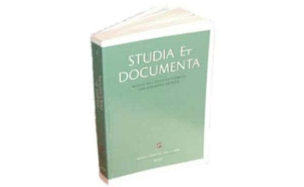 Acaba de publicarse el quinto volumen de «Studia et Documenta»