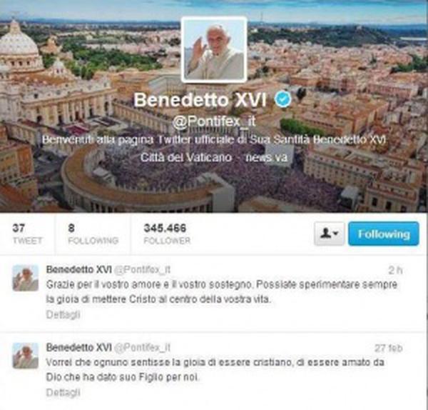 L'ultimo tweet di Benedetto XVI