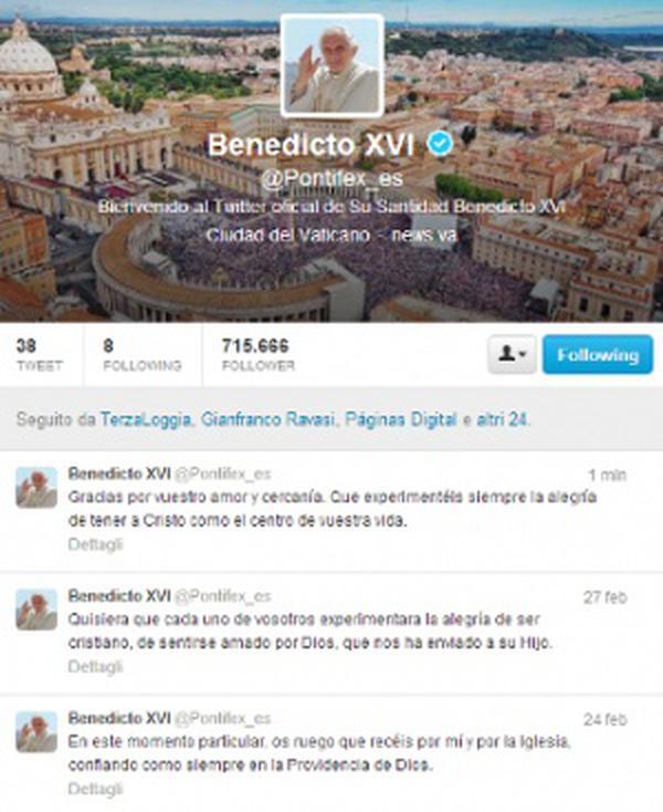 Le dernier tweet de Benoît XVI