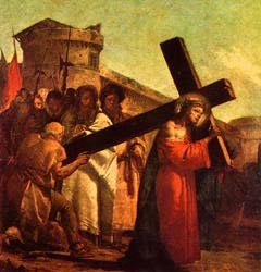 제 5 처 키레네의 시몬이 예수를 도와 십자가를 짐