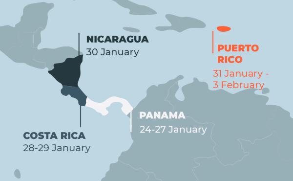 Opus Dei - Pastoralreise nach Panama, Costa Rica, Nicaragua, Puerto Rico