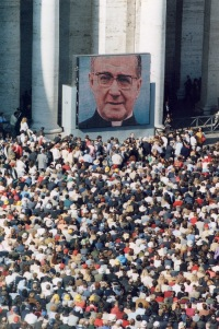 At the canonization of the new saint in October 2002.