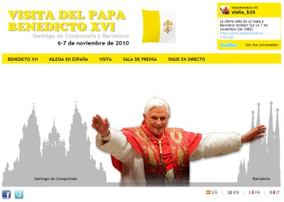 En www.visitadelpapa2010.org se podrá ver en directo el viaje papal