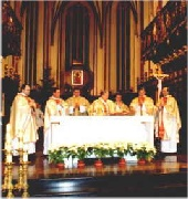 Cardinal Jozef Glemp presided at a commemorative mass in St. John the Baptist cathedral in Warsaw.