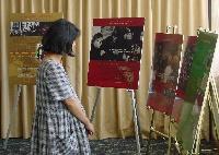 Paneles de la exposición sobre la vida y obra de Josemaría Escrivá.